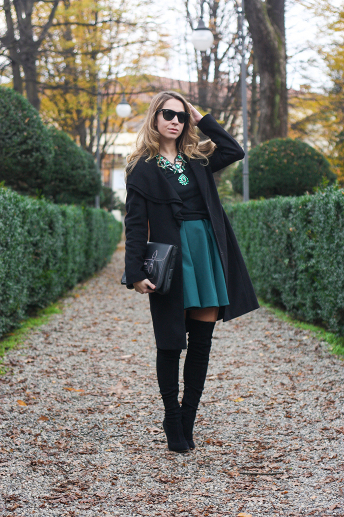 skater skirt overtheknee boots outfit