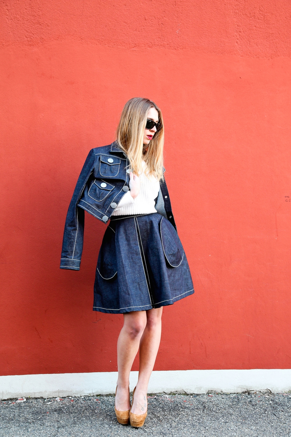 jeans skirt fashion blogger