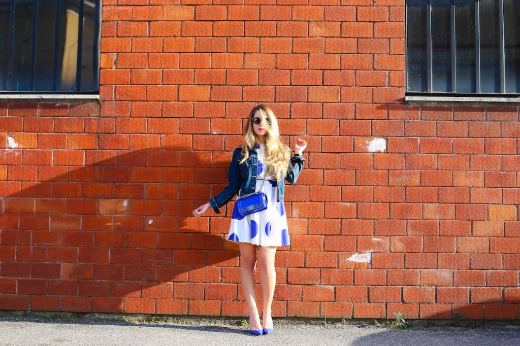 0030blugirl folies pois dress