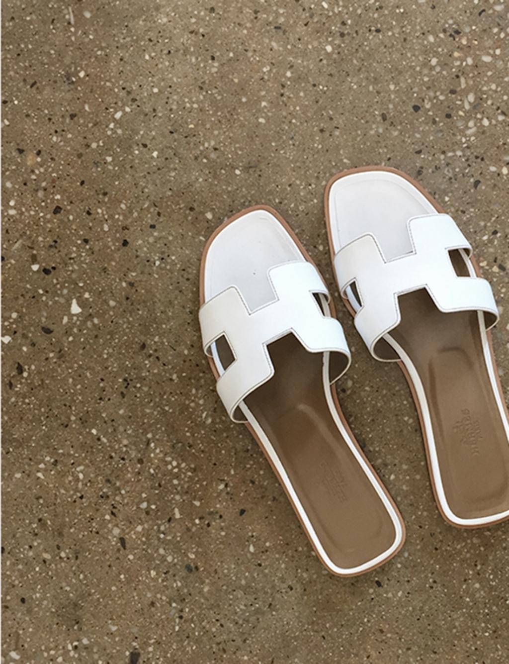 White Oran Herm^s sandals